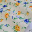 per metre/FQ cream yellow & blue floral polycotton fabric dressmaking/craft 44""