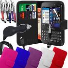 PU Leather Wallet Case Cover Film Pen & Car Charger for BlackBerry Q5
