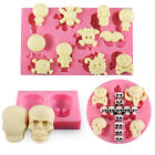 Silicone Fondant Cake Icing Sugarcraft Decorating Mould Tools 3 Skull pattern