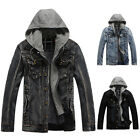Vintage Men's Winter Denim Motorcycle Hooded Jacket Hoodie Jean Coats Outerwear