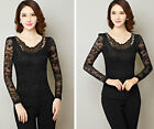 Elegant Women Lace Flowers Blouse Tops Delicate Long Sleeve Tee Shirts