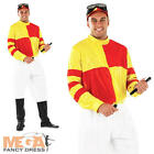 Jockey Mens Costume + Hat Horse Racing Adult Sports Celebrity Fancy Dress Outfit