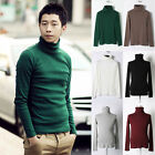 new men's Turtleneck casual slim fit pure color sweatshirts sweater knit shirts