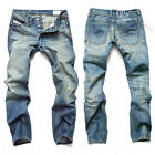 cowboy mens straight slim fit denim casual ripped holes beggars long jeans pants