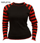 SPIRAL DIRECT Ladies Black Goth STRIPEY TOP T Shirt RED Emo/Punk All Sizes