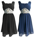 SIZES 20-24 BLACK NAVY BLUE SILVER SEQUIN BABYDOLL COCKTAIL EVENING PARTY DRESS