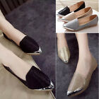 Metal pointed toe flats women ladies loafers frosted slip-on shoes