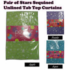 PAIR of Stars Sequined Unlined Tab Top Curtains 140 x 213cm - APPLE AQUA PURPLE