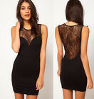 Sexy Womens Slim Backless Clubwear Stretch Evening Party Cocktail Dress Black