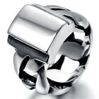 Mens Stainless Steel Ring, Biker, Silver, Polished KR1858