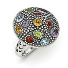 Multi Gemstone Ring .925 Sterling Silver & 14K Gold Accent Size 6-8 Shey Couture