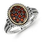 Garnet Cluster Ring .925 Sterling Silver & 14K Gold Accent Sz 6 - 8 Shey Couture