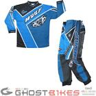 Wulf Crossfire Cub Motocross Kit Blue Wulfsport MX Off Road Trousers Jersey Top