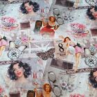 Vintage Pin Up Girls & Butterflies Digital Print 100% Cotton Half Panama Fabric