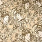 Lovely Japanese Geisha Print, Perfect Ivory Cream, Cotton Fabric by Trendtex