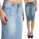 TheMogan Seamed Washed Denim Knee Pencil Jean Skirt