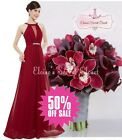 BNWT ORLA Cranberry Red Chiffon Maxi Prom Evening Bridesmaid Dress UK 6 - 18
