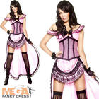 Deluxe Western Saloon Girl Fancy Dress Ladies Pink Costume Adult Outfit UK 12-18