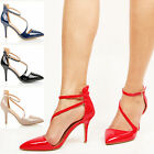 Womens ladies mid heel pointed toe ankle strap party patent court shoes size