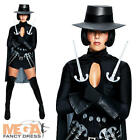 V for Vendetta Ladies Movie Fancy Dress Halloween Costume + Hat UK 6-16