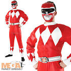 Red Power Ranger Adult Fancy Dress Superhero Mighty Morphin Rangers Mens Costume
