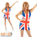 Union Jack + Wig  Ladies Fancy Dress Ginger Spice Girl Celebrity Womens Costume