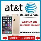 APPLE IPHONE 7+ 7 6S+ 6S 6+ 6 5S 5C 5 4S 4 AT T ACTIVE IMEI UNLOCK SERVICE FAST