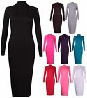 Womens New Long Sleeve Ladies Stretch Bodycon Midi Dress Plain Long Tunic Top