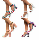 LADIES MID HIGH BLOCK HEELS PEEP TOE SANDALS ANKLE STRAP CUFF PARTY PUMPS SHOES
