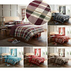 Contemporary Bedding Set With Checked Print - Reversible Striped Duvet Cover
