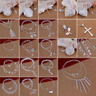 Fashion Elegant  925 Sterling Silver Pendant Necklace Womens Ladies Gift 9Styles
