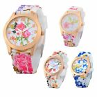 Women Chic Silicone Strap Flower Style Jelly Sports Analog Quartz Wrist Watch