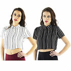 AM54 Womens Striped Cap Sleeve Crop Top Ladies Chiffon Collared Button Down Tees
