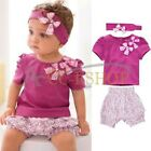 Toddler Baby Infant Clothes Girl Kid Bow Top+Pant+Headband 3Pcs Outfit Set 6-24M