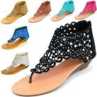Womens Gladiator Sandals Wedge Heel Thongs Dressy Ankle Wrap Shoes W Rhinestone