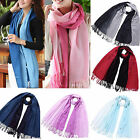 CHIC Women Stole Wool Pashmina Tassels Cashmere Gradient Color Scarf Shawl Wraps