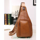 New Men Vintage Genuine Leather Travel Hiking Shoulder Messenger Sling Chest Bag