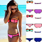 2015 Sexy Women Neoprene Bikini Set Strapless Swimsuit Zipper Swimwear Beachwear