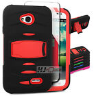 For LG L70 SERIES Armor Hard Rubber w Q Stand Case Cover Colors