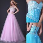 STOCK Sexy Long Sequins Beaded Corset Evening Formal Ball gown Party Prom Dress