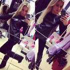 Hot Sale Women Black Long Sleeve Leather Knitting Patchwork T-Shirt Tops Blouses