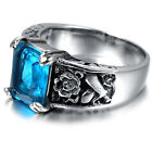 Mens Stainless Steel Ring, Biker, Silver, Blue Square Crystal, KR1929