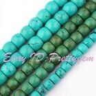 """Natural Smooth RondelleTurquoise Gemstone Jewelry Making Beads 15"""",Pick Size"""