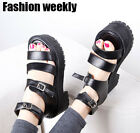 Hot Preppy Open toe block heels high platform chunky Roman sandals ankle strappy