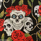 per 1/2 metre/fat quarter 100 % cotton Black skulls & roses fabric goth