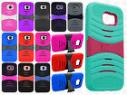 For Samsung Galaxy S6 HYBRID Hard Gel Rubber KICKSTAND Case Phone Cover