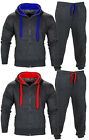 Mens Contrast Cord Squad Fleece Warm Hooded Full Zip CHARCOAL Jogging Tracksuit