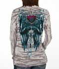 Sinful AFFLICTION Womens LS T-Shirt A MIDNIGHT DREARY Wings Tattoo Biker UFC $58