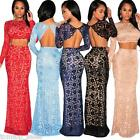 Hot Women Lady Floral Lace Open Back Long Sleeve Crop Top+ Maxi Skirt Two-Pieces