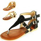Womens Gladiator Sandals T-Strap Thongs Roman Flats Back Zipper Flip Flop Shoes
